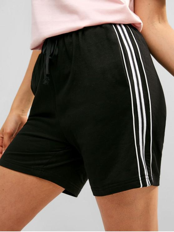 womens Contrast Drawstring Pocket Sweat Shorts - BLACK L