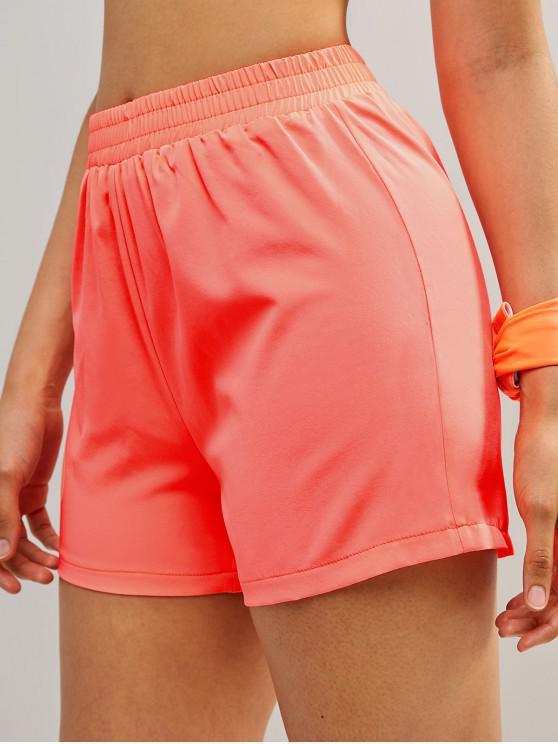 lady ZAFUL Neon Elastic Waist Gym Shorts - ORANGE S