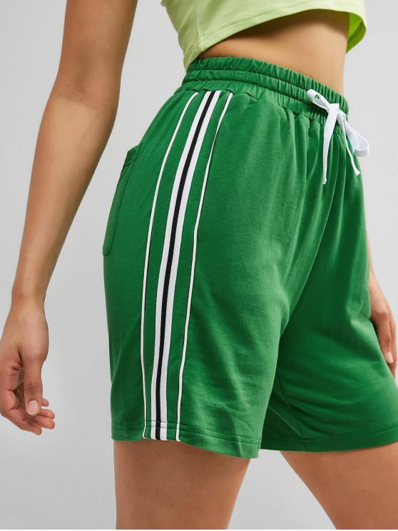 new Contrast Drawstring Pocket Sweat Shorts - CLOVER GREEN S