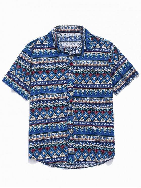 Kontrast-geometrisches Hemd - Blau L