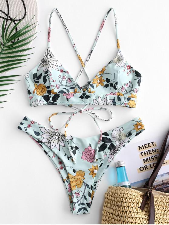 fancy ZAFUL Lace Up Floral High Leg Bikini Set - MULTI-A M