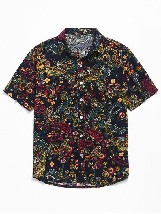 unique Paisley Print Short Sleeve Shirt - BLACK XS