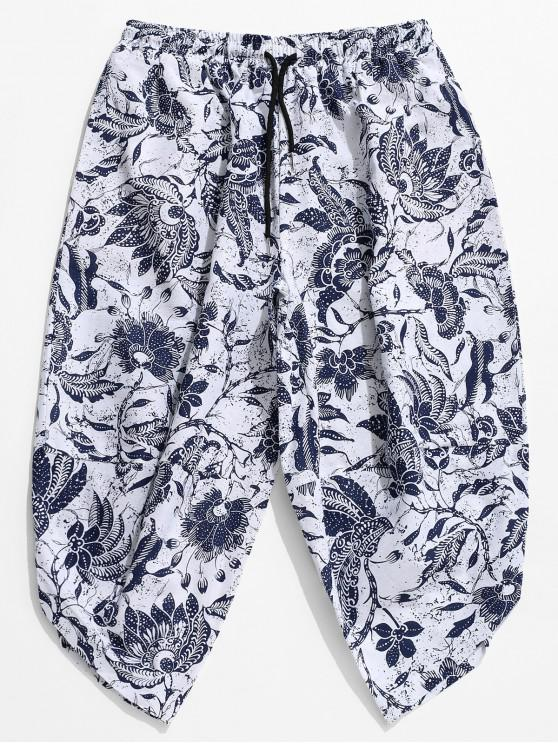 trendy Floral Print Drop Crotch Casual Harem Pants - WHITE M