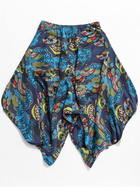 Pantalones de harén con estampado floral tribal en forma de abanico étnico - Multicolor 2XL