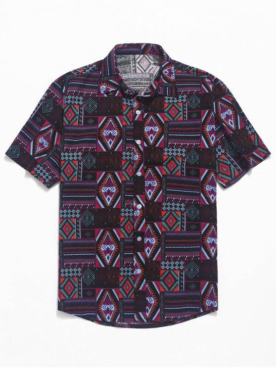 fashion Ethnic Tribal Geometric Print Short Sleeves Shirt - BLACK S