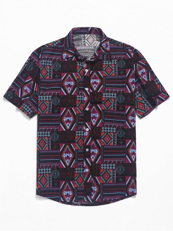 sale Ethnic Tribal Geometric Print Short Sleeves Shirt - BLACK XS