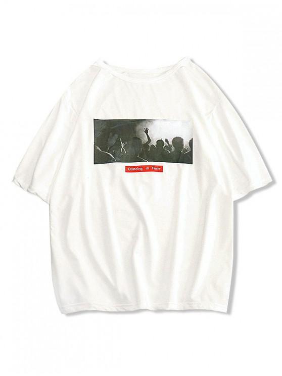 Camiseta de Baile Estampada Gráfica Casual - Blanco S