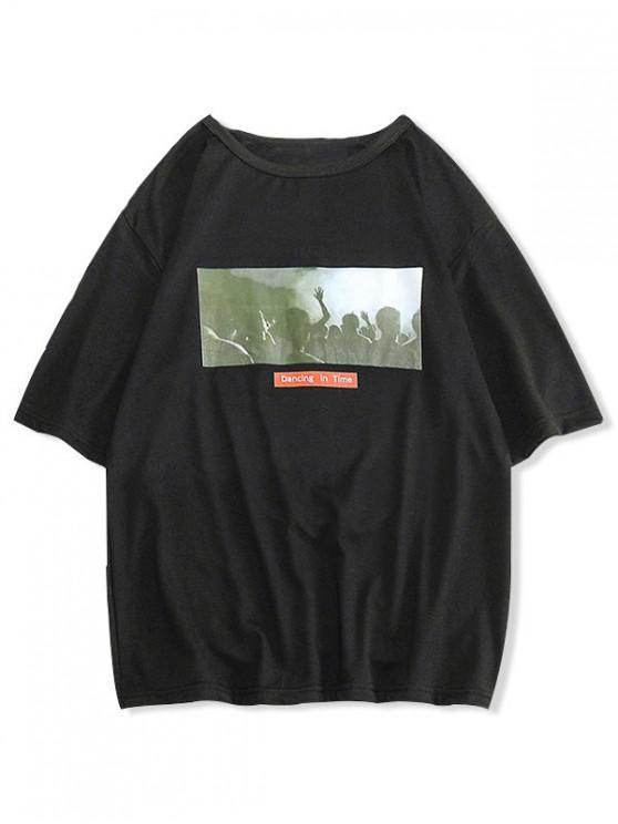 ladies Dancing Graphic Print Casual T-shirt - BLACK XS