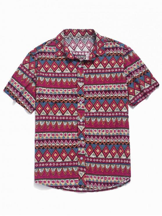 hot Contrast Geometric Shirt - ROSE RED L