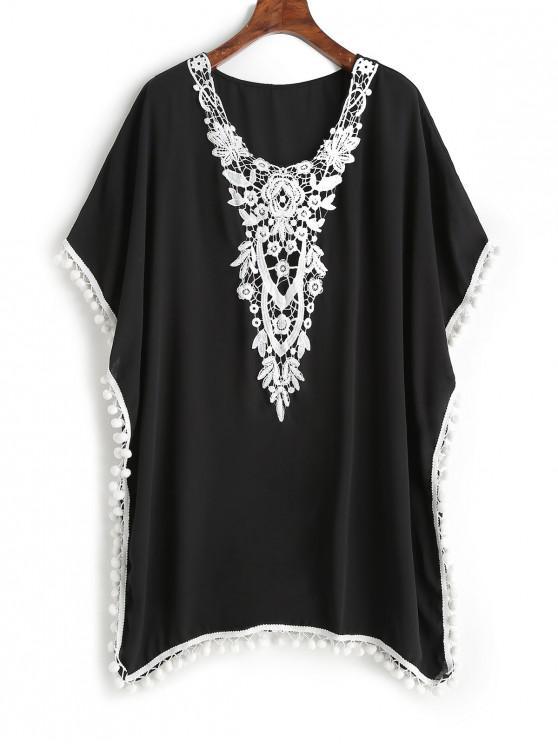 Robe Poncho Fleur Brodée à Pompon - Noir L