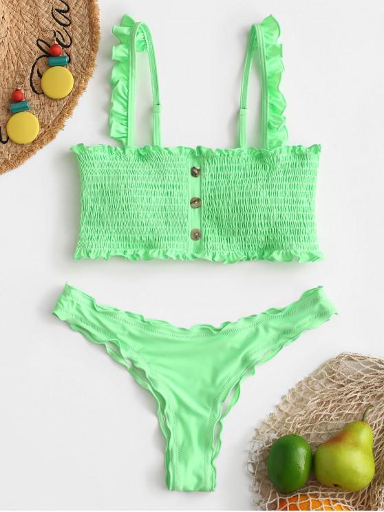 Botón ZAFUL adornado conjunto de Bikini Smocked - Verde Menta L