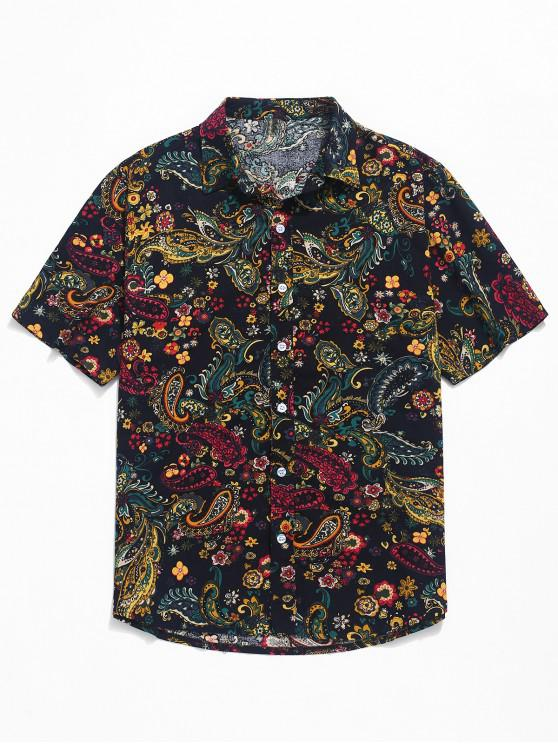 women Paisley Print Short Sleeve Shirt - BLACK 2XL