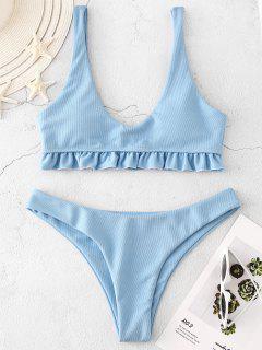 ZAFUL Textured Ruffle Bikini Set - Day Sky Blue M