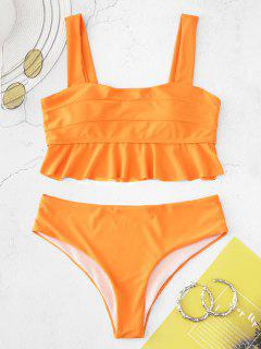 ZAFUL Ensemble De Tankini Néon à Volants - Orange Foncé L