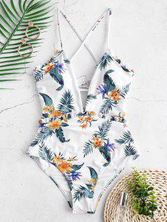 ZAFUL High Rise Flower Frilled Lace-up Swimsuit - Multi-a M