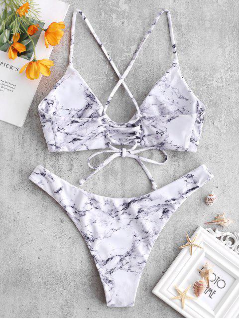 shop ZAFUL Cross Marble Lace-up Bikini Set - MULTI L Mobile