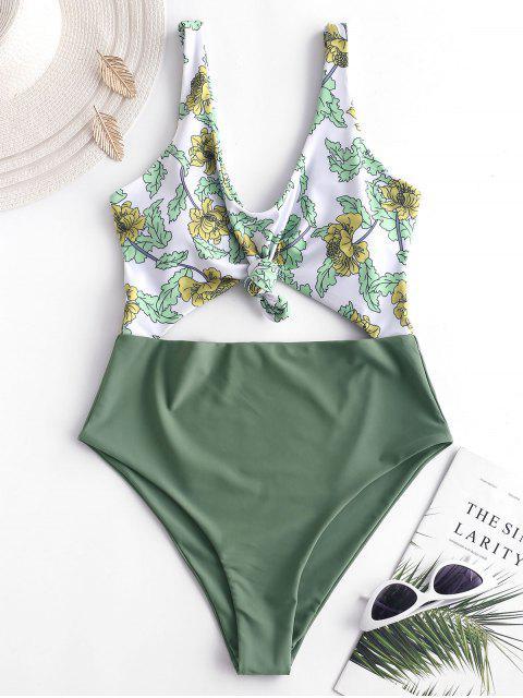 online ZAFUL Plant Print Knot Cutout Swimsuit - DARK SEA GREEN XL Mobile