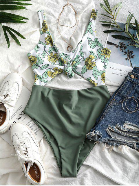 ZAFUL植物印花結鏤空泳裝 - 黑暗的海綠色 XL Mobile