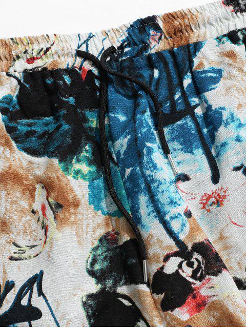 Pantalones Harem Casual Estampados Florales - Multicolor XL Mobile