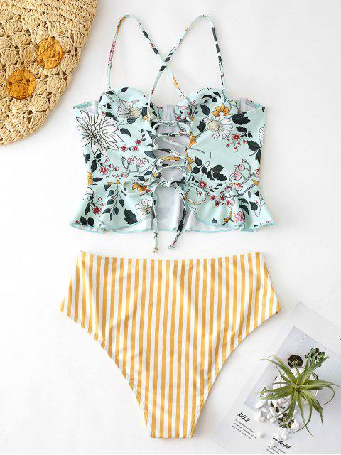 buy ZAFUL Floral Striped Lace Up Peplum Tankini Set - MULTI-A L Mobile