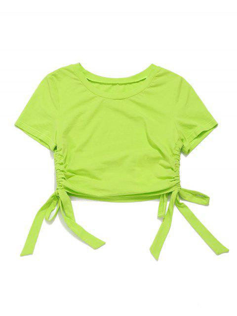 Camiseta ZAFUL Neon Drawstring Crop Gym - Verde de Pistacho M Mobile