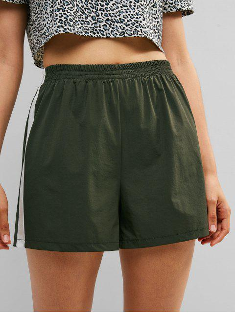 women's ZAFUL Color Block High Waisted Shorts - DARK FOREST GREEN L Mobile