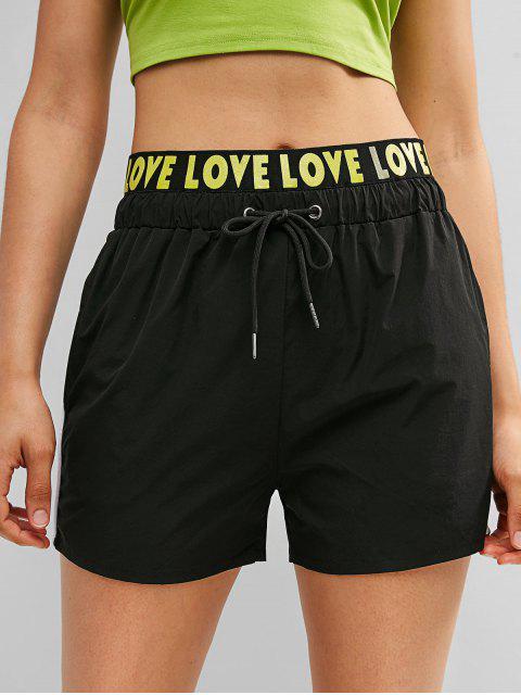 ZAFUL Love Graphic pantalones cortos con cordón - Negro M Mobile