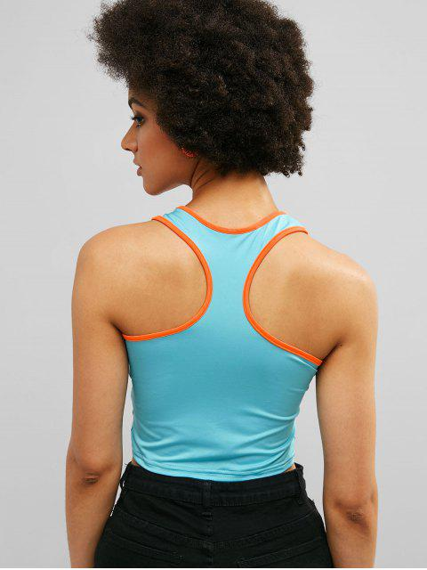 ZAFUL Racerback Contrast Gym Crop Tank Top - Celeste Ligero M Mobile