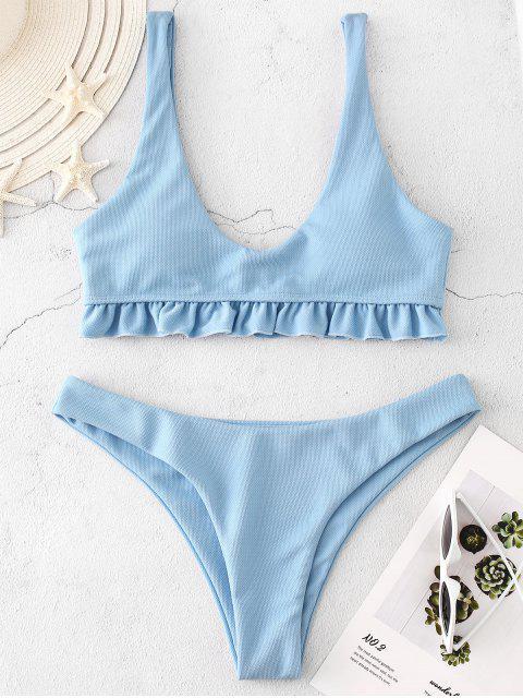 ZAFUL Bikini-Set mit Strukturierten Rüschen - Himmelblau M Mobile