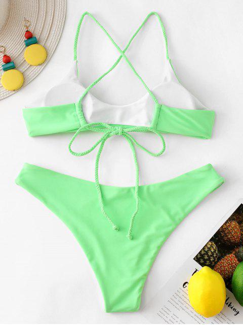 fashion ZAFUL Reversible Braided Criss Cross Bikini Set - MINT GREEN S Mobile