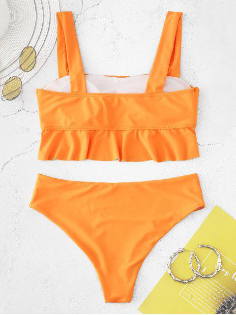 trendy ZAFUL Flounce Neon Tankini Set - DARK ORANGE L Mobile