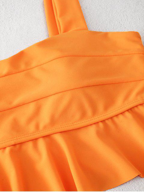 ZAFULTankini de Neón con Volantes - Naranja Oscuro S Mobile
