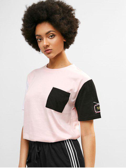 Camiseta bordada con bolsillo de bloques de colores - Cerdo Rosa L Mobile