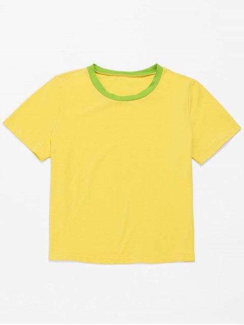 ZAFUL Contraste cuello manga corta camiseta informal - Amarillo S Mobile