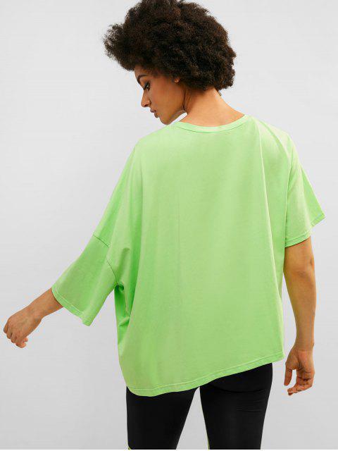 Camiseta de neón asimétrica extragrande de gran tamaño de ZAFUL - Verde Menta M Mobile