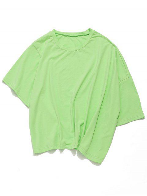 Camiseta de neón asimétrica extragrande de gran tamaño de ZAFUL - Verde Menta L Mobile