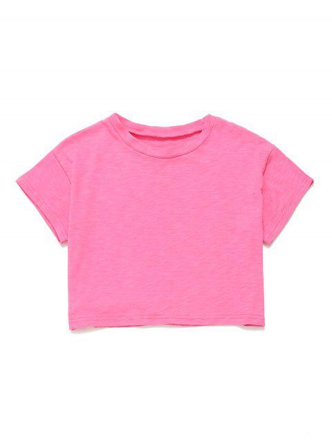 Camiseta corta con manga corta y hombros caídos - Rosa Roja L Mobile