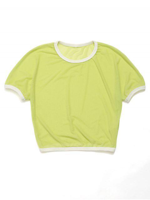 ZAFUL Neon Mesh Crop Ringer Tee - Verde de Pistacho L Mobile