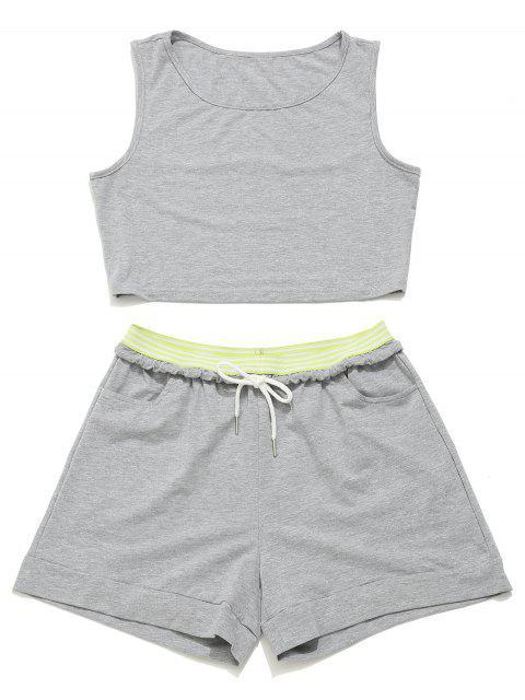 ZAFUL Crop Gym Tank Top y pantalones cortos con cordón - Ganso Gris M Mobile