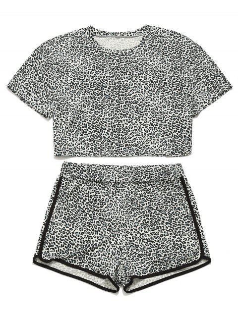 Conjunto de camiseta y pantalones cortos de leopardo ZAFUL - Leopardo M Mobile