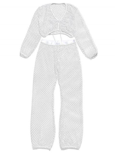 Conjunto de blusa y pantalones calados calados - Blanco M Mobile