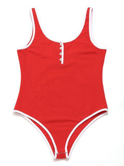 ZAFUL Contrast Trim Backless Body Body - Rojo L Mobile