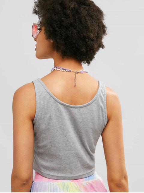 ZAFUL Sporty Knitted Crop Tank Top - Ganso Gris M Mobile