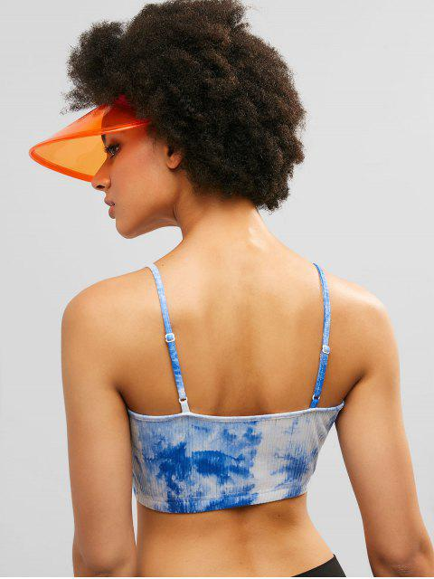 ZAFUL Crop Tie Dye Knit Gym Cami Top - Multicolor M Mobile
