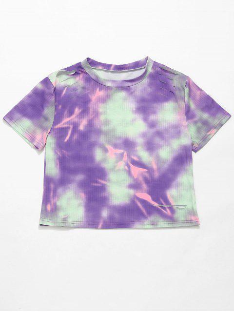 ZAFUL Tie Dye Ripped camiseta casual - Multicolor S Mobile