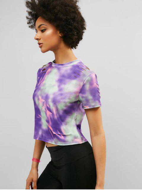 ZAFUL Tie Dye Ripped camiseta casual - Multicolor M Mobile