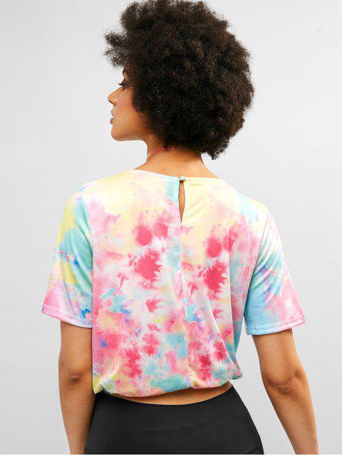women's ZAFUL Keyhole Back Drawstring Tie Dye Tee - MULTI S Mobile