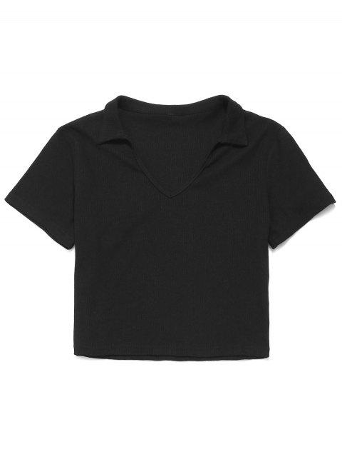 ZAFUL camiseta acanalada con cuello en V - Negro L Mobile