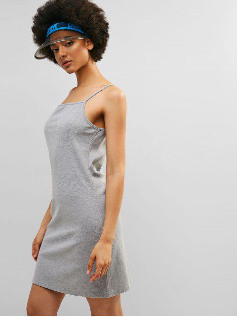 Vestido Casual Corto Acanalado De Cami ZAFUL - Gris Claro M Mobile