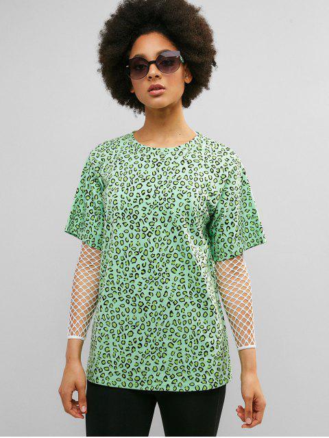 Camiseta túnica estilo boyfriend de leopardo de ZAFUL - Verde Alga S Mobile